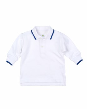 White 100% Cotton Pique Knit Polo with Royal Tipping