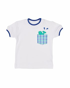 White & Blue Tipping 100% Pima Cotton. Whale In Pocket
