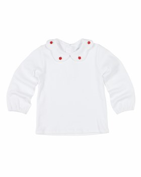 White Interlock Knit. 100% Cotton.  Apple Embroidered On Scallop Collar