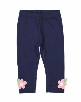 Navy Cotton/Spandex Knit Leggings. Flowers