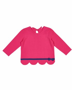 Fuchsia Scallop Hem Top, Navy Band with Bow