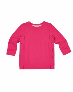 Fuchsia Solid Knit Top with Side Navy Buttons, Longer Back, Long Sleeves
