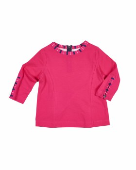 Fuchsia with Stripe Bound Sleeve and Back Neck, Zippers, Tunic