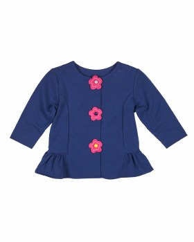 Navy French Terry, Peplum Ruffle, Flowers with Button Centers