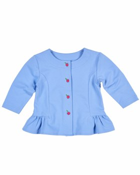 Blue French Terry Top, 95% Cotton 5% Spandex, with Apple Buttons
