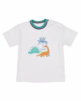 White & 100% Pima & Stripe Rib Neck & Screen Printed Dinosaurs