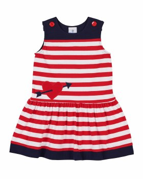 Red & White Stripe Knit with Navy Yoke & Heart with Arrow. 97% Cotton 3 Spandex%