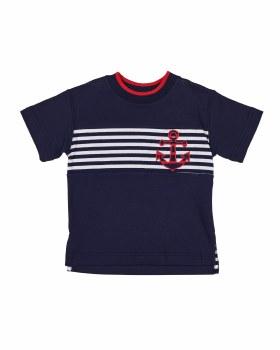 Navy Interlock Tee with Navy & White Stripe. 100% Cotton. Anchor