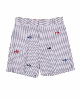 Navy & White Stripe Seersucker 100% Cotton with Embroidered Fish