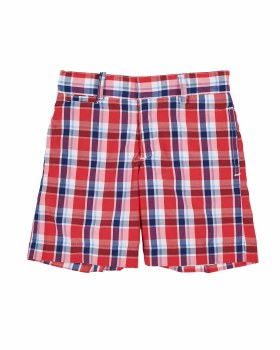 Red & Navy & White Plaid. 60% Cotton 40% Polyester. Lined