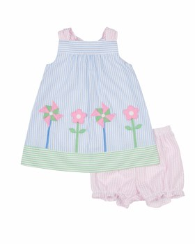 Light Blue, Pink & Green Seersucker Dress with Bloomer (2pc), 100%Cotton, Flowers