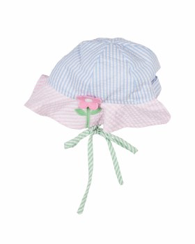 Light Blue & Pink & GreenSeersucker Hat, 100% Cotton Flower