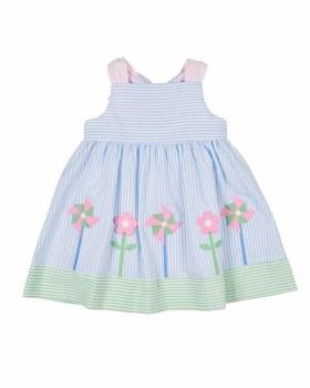 Light Blue & Pink GreenSeersucker. 100% Cotton. Pinwheels, Flowers