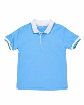 Light Blue Interlock Tee Polo, 100% Cotton