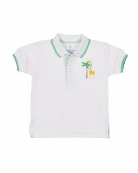 White Knit Pique Polo, 100% Cotton Green Trim, Giraffe & Palm
