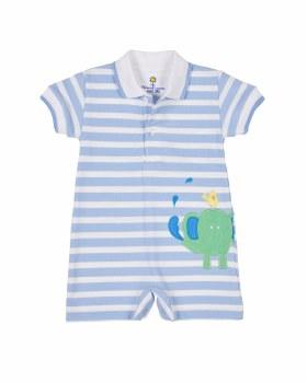 Light Blue Stripe Knit Pique, 100% Cotton, Elephant & Bird
