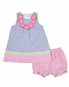 Bright Blue & Pink with Green Seersucker Dress and Bloomer (2pc) , 55% 45% Poly, Flowers