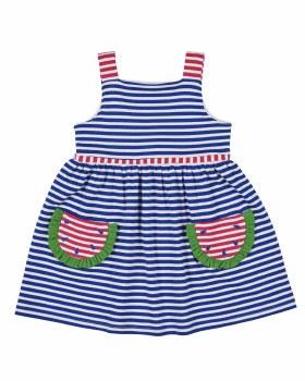 Royal & Bright Pink Stripe Interlock Dress, 50% 50% Poly, Watermelon