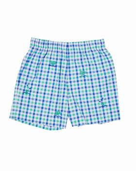 Blue & Green Check Seersucker Shorts, 100% Cotton, Embroidereed Whales