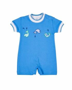 Medium Blue Interlock Shortall, 100% Cotton, Applique Whales