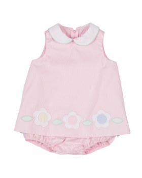 Pink Finewale Pique Skirted Romper, 100% Cotton, Flowers