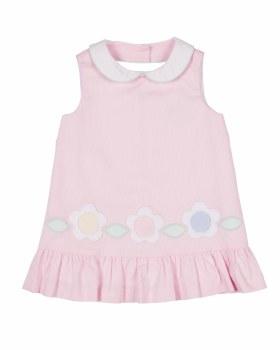 Pink Finewale Pique Dress, 100% Cotton, Flowers