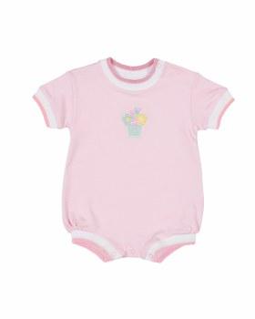 Pink Interlock Romper, 100% Cotton, Applique Flower Pot