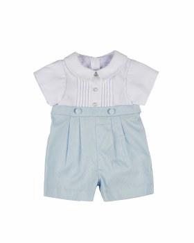 White & Light Blue Finewale Pique Shortall & 100% Cotton