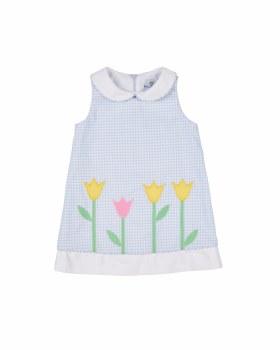 Light Blue & White Check Finewale Pique. 65% Poly 35% Cotton. Tulips