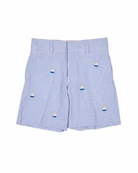 Blue & White Seersucker Check & 100% Cotton. Embroidered Sailboats