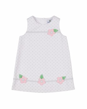 White & Grey Dot Pique. 50% Cotton 50% Poly & Flowers. Lined
