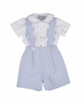 Blue & White Stripe Seersucker. 100% Cotton. Shirt Pique 100% Cotton