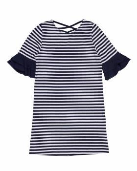 Navy & White Stripe Knit & 97% Cotton 3% Spandex