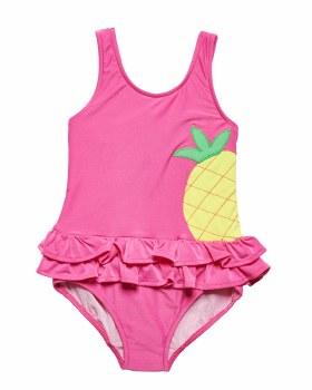 Bright Pink Stripe 80% Nylon 20% Spandex Pineapple. Lined