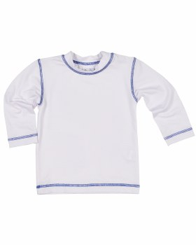 White & Royal Stitching 100% Polyester Supplex