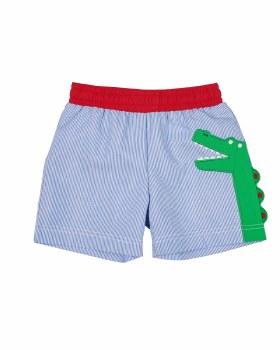 Blue Jr Cord & 75% Poly 25% Cotton Applique Alligator. Jock Lined