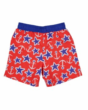 Red & Blue Anchor & Star Print. 100% Polyester. Jock Lined