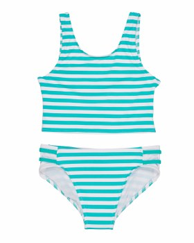 Jade & White Stripe 92% Nylon 8% Elastan. Lined