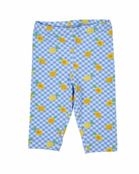 Blue, White & Yellow Pineapple Print Capris