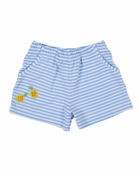 Printed Blue & White Stripe Fuller Short with Pockets. Pineapples