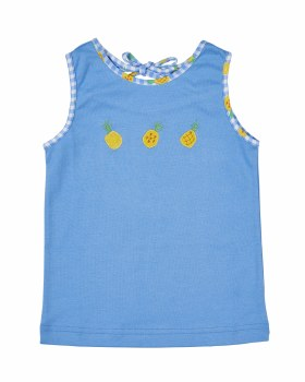 Blue Sleeveless Top with Print Pineapples