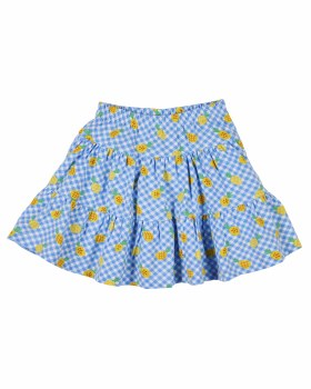 Blue, White and Yellow Pineapple Printed Tiered Skort