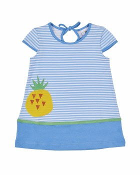 Blue and White Stripe with Solid Hem Band and Pineapple Applique. Cap Sleeves