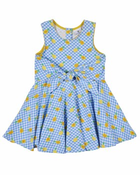 Blue, White and Yellow Pineapple Print Dress with Tie Front