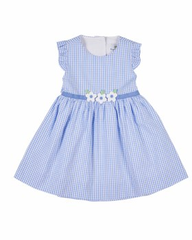 Blue & White Check Seersucker. 100% Cotton. Lapped Back. Flowers. Lined