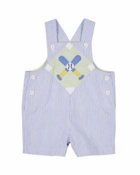 Medium Blue Stripe Seersucker Shortall, 100% Cotton, Baseball
