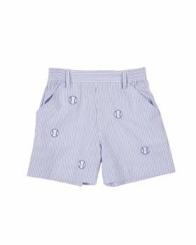 Medium Blue Stripe Seersucker Shorts, 100% Cotton, Baseballs