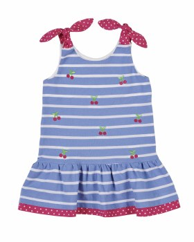 Blue Stripe Knit Pique Dress, 100% Cotton, Pink Dot, Flowers
