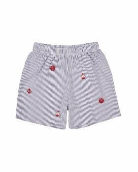 Navy Stripe Seersucker Shorts, 100% Cotton, Nautical Embroidery