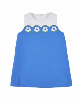 Blue Pique. 100% Cotton. Flowers on Scallop Yoke. Lined